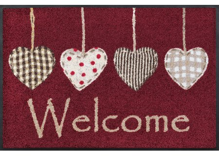 wash-and-dry Matte Cottage Hearts red 050x075 cm