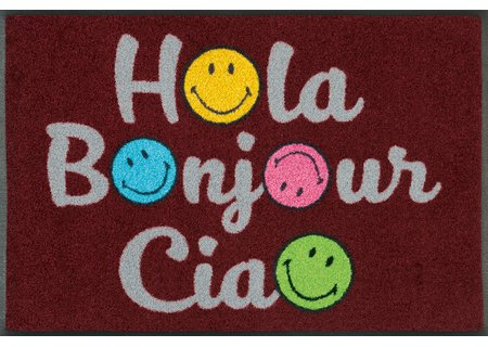 wash-and-dry Matte Smiley Hola Bonjour Ciao 050x075 cm
